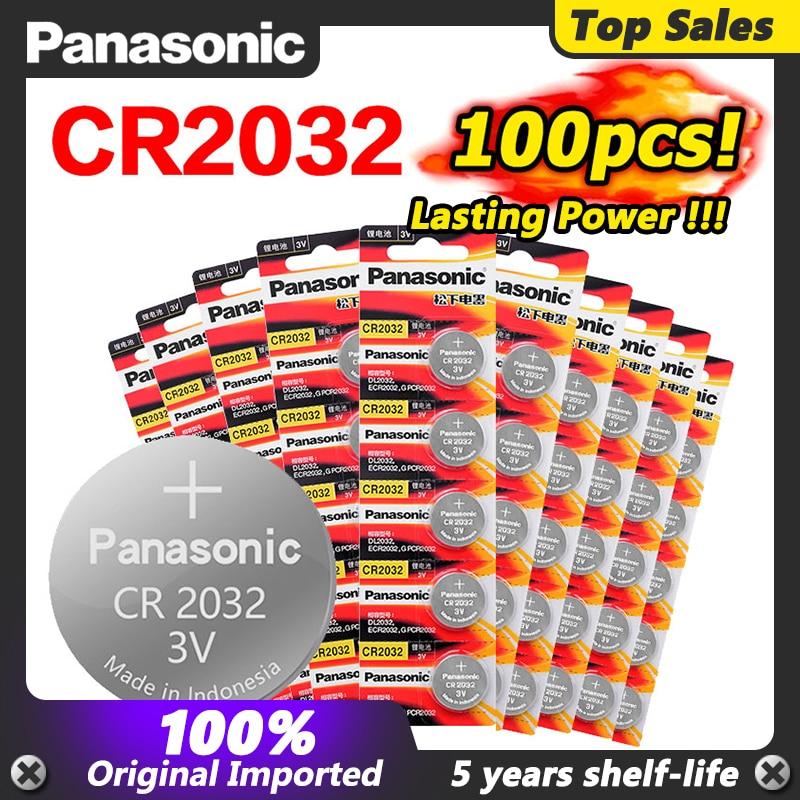 Panasonic-Pilas de iones de litio CR2032 CR 100 para ordenador, batería de...