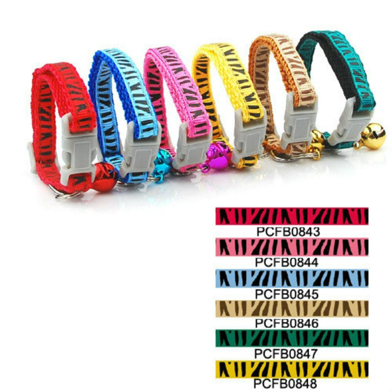 Productos para mascotas, suministros para perros, correas de nailon de Color sólido, 0,8 cm, estilo de hebilla para Collar con estampado de rayas de perro y gato (6 colores) 12 uds/lote