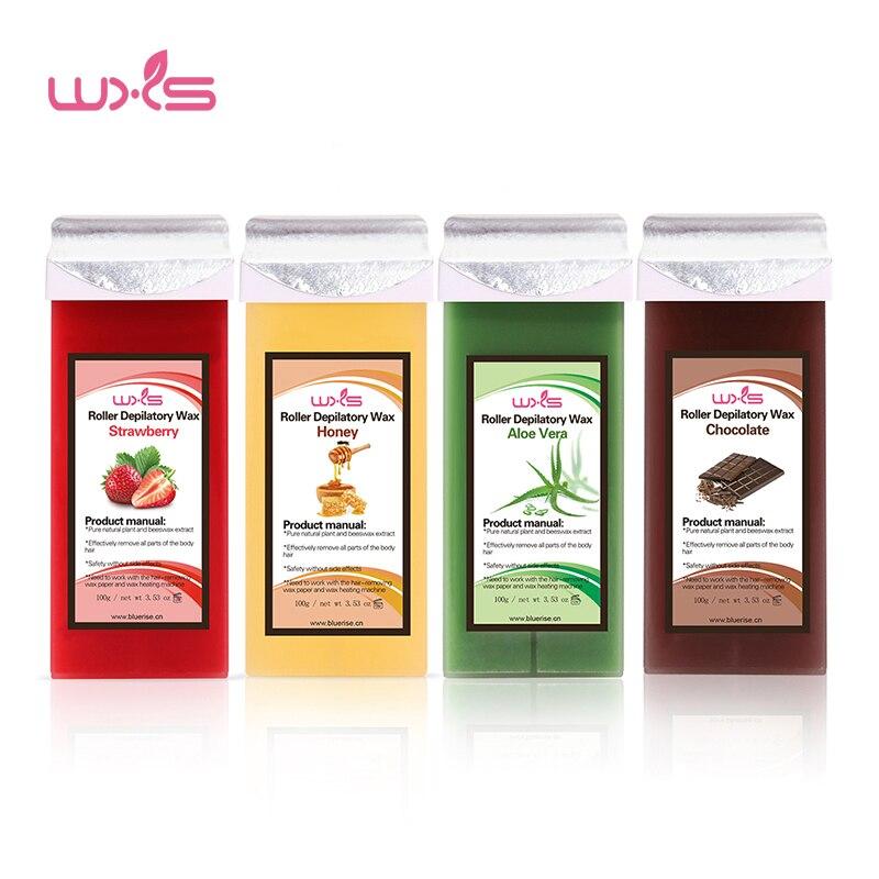 100g creme depilatório da remoção do cabelo do cartucho da cera 5 sabor morango rosa chocolate mel rolo-na cera quente todos os tipos de pele