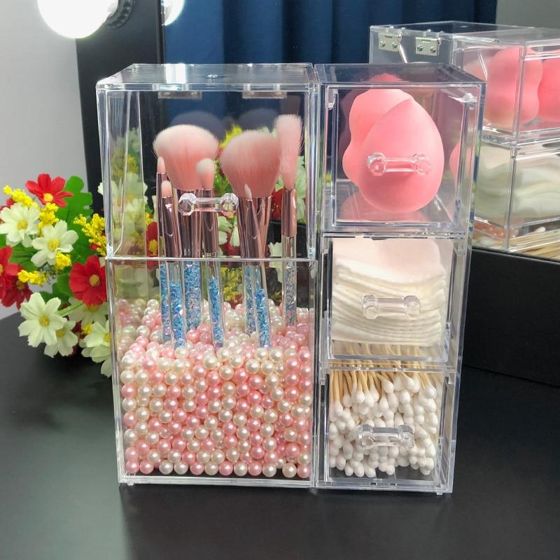 Pinceles de acrílico para maquillaje titular con cajones para las almohadillas de algodón/licuadora maquillaje cepillo Kit organizador caja de almacenamiento de cosméticos