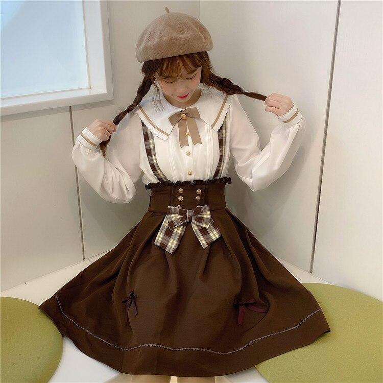 Sweet Women's Doll Collar White Blouse Shirt Tops & Brown Suspender Skirt Retro Casual Overalls Bowknot Trim Skirt Preppy Style
