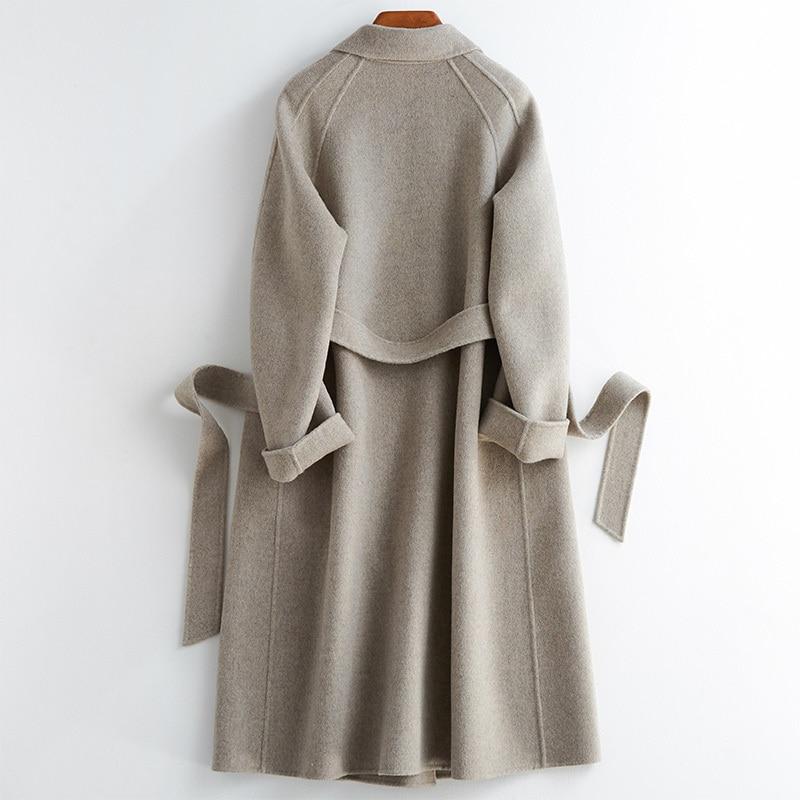 Chaqueta coreana con doble botonadura de lana 2020 larga abrigo de lana...