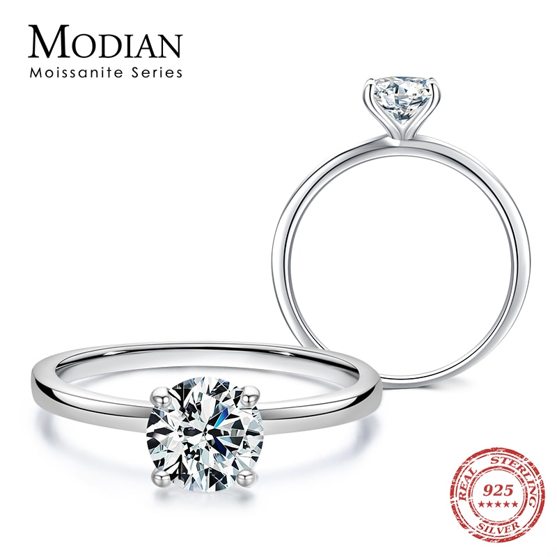 MODIAN Sparkling 1.0Ct Moissanite 925 Sterling Silver Finger Rings For Women Classic Wedding Band Engagement Statement Jewelry