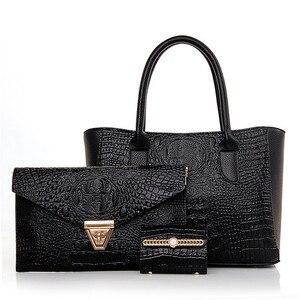 Luxury Patent Leather Alligator Handbags 3PCS Shoulder Crossbody Bag For Women Casual Tote Messenger Bags Set Clutch Feminina