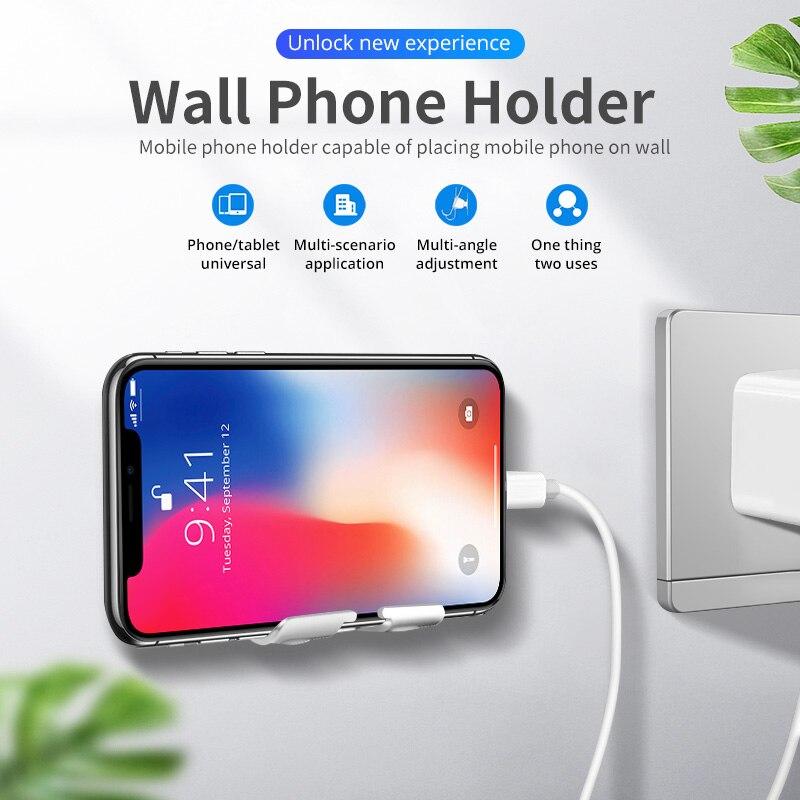 ANMONE, soporte de pared giratorio de aleación adhesiva para teléfono, soporte de carga, cuna para teléfono y tableta