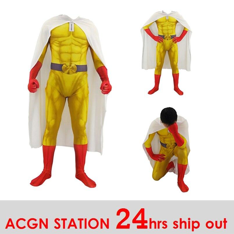 Homens meninos um soco homem cosplay trajes super herói saitama cosplay bodysuit halloween macacões outfits com capa/capa