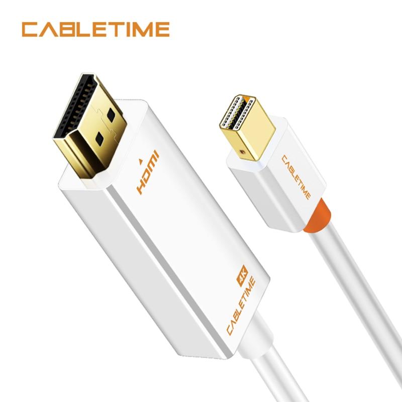 Cabletime thunderbolt mini displayport dp para hdmi 4 k adaptador hdmi expositor porto cabo para 1080 p tv lenovo computador macbook n043