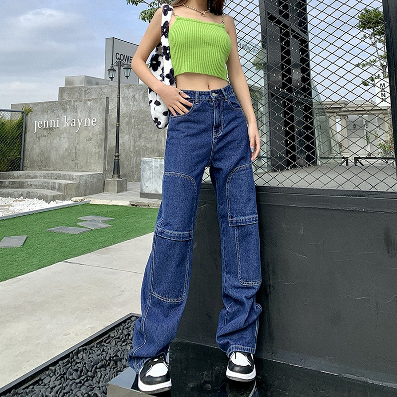 Women Indie Street Fashion Mid-Seam Splice Jeans Aesthetics Mid Waist Straight Pant 2021 Spring Autumn Vintage Y2k Trousers Blue