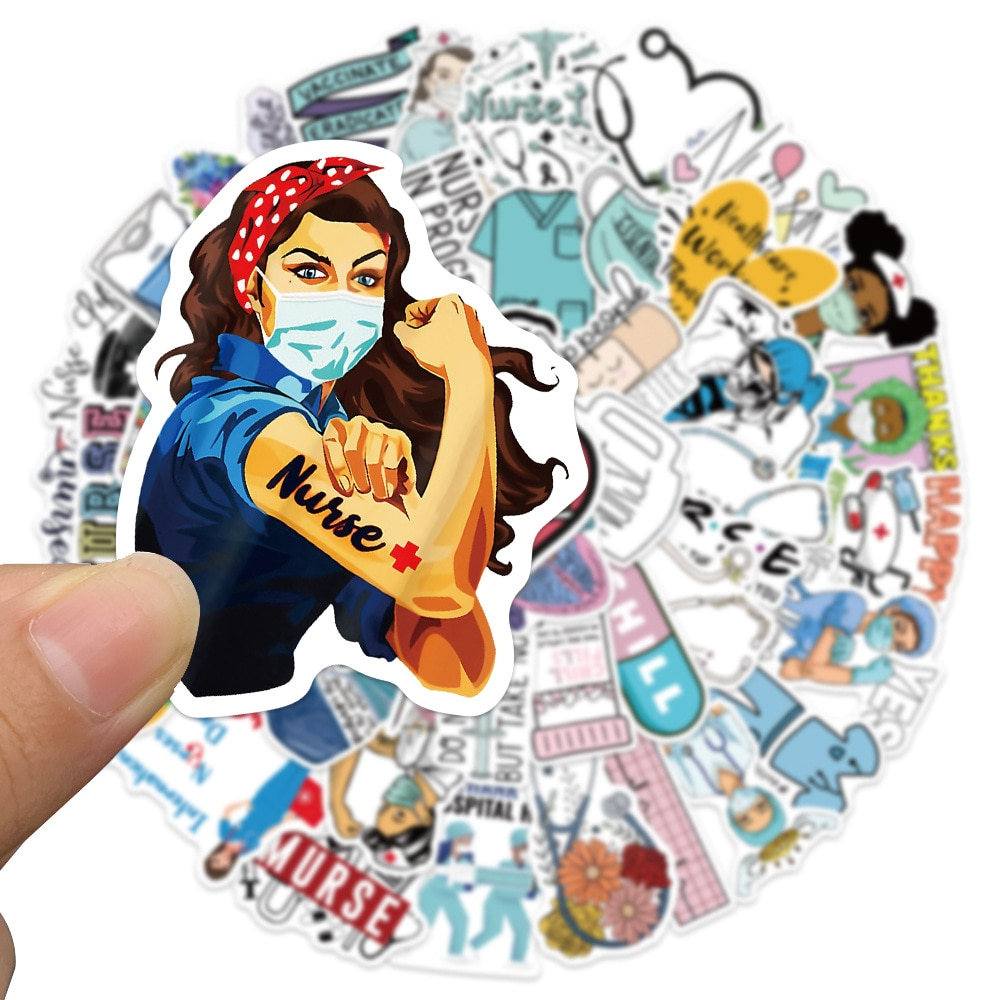 10-50-unids-pack-enfermera-Angel-blanco-pegatinas-de-grafiti-telefono-movil-equipaje-refrigerador-de-agua-copa-decoracion-pegatina-para-chicas-adolescentes