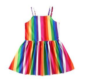 Children's Clothes Baby Kids Summer Breathable Girls Suspender Dress Creative Rainbow Stripes Sleeveless Slip Princess Skirt