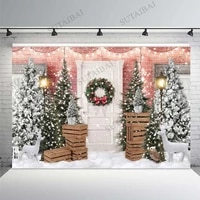 winter snow backdrop for photography christmas tree reindeer pink brick wall background party banner baby photo studio backdrop