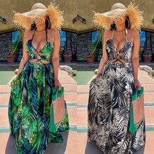 Yg brand women's 2021 summer new retro printed Bohemian long sexy open back bra neck dress
