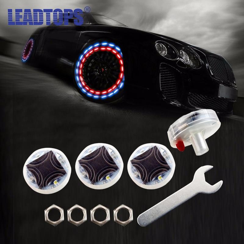 4pcs/lot Stunning Waterproof Solar Car Tuning Aas Nozzle Cap Lamp Rim Light Wind Fire Wheels Led Flash Lamp Tyre Light  BE