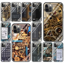 Circuit Board Glass Soft Edge Cover for iPhone 11 12 Pro MAX Luxury Case 7 8 6 6S Plus Smartphone Ac
