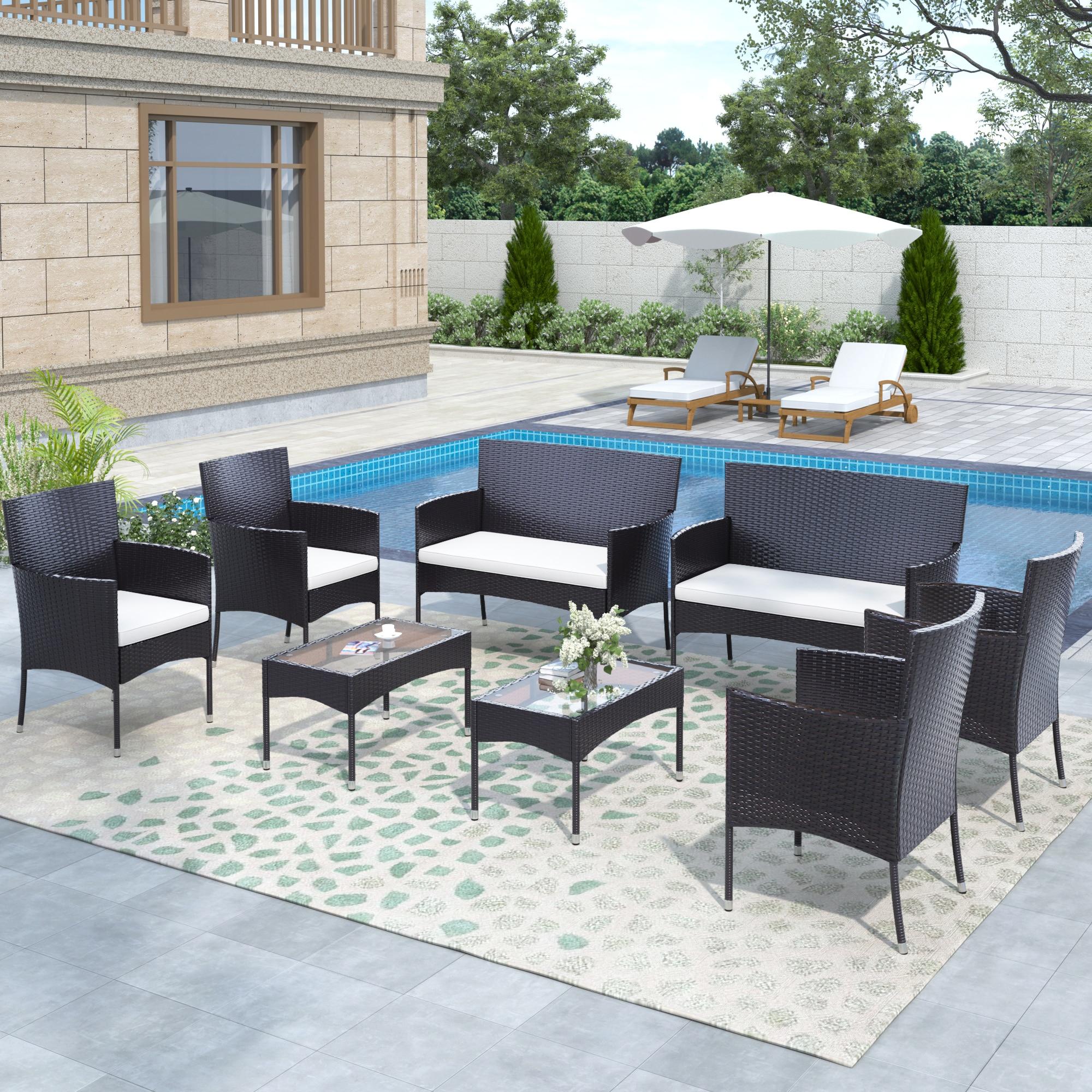 Комплект уличной мебели из 8 предметов, комплект патио из ротанга, плетеная садовая мебель, секционный диван для дома