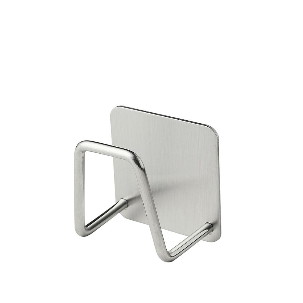 1PC Stainless Steel Hook up Sponge Towel Soap Mini Storage Rack Kitchen Bathroom Hanging Hook Self A