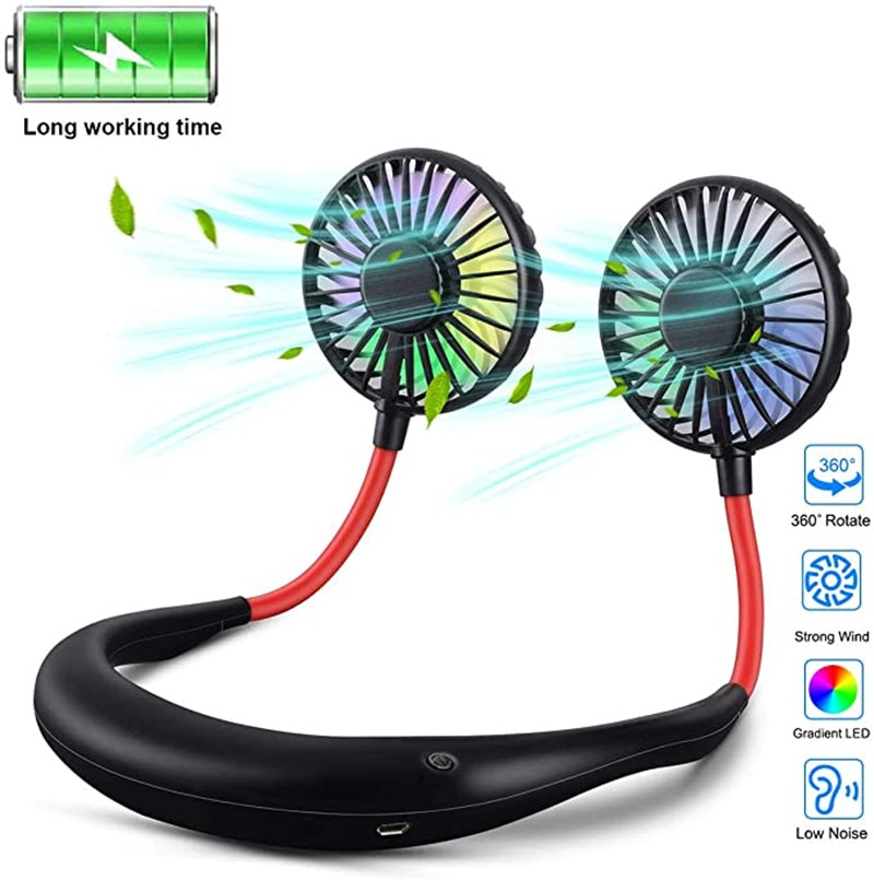 Mini Portable Hanging Neckband Fan USB Rechargeable Double Fans Air Cooler Conditioner Colorful Aroma Electric Desk Fan