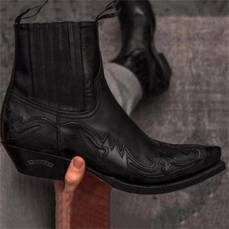 Pointed Sleeve Locomotive Martin Boots Western Cowboy Knight Boots Men's Retro Knee Short Boots Fash