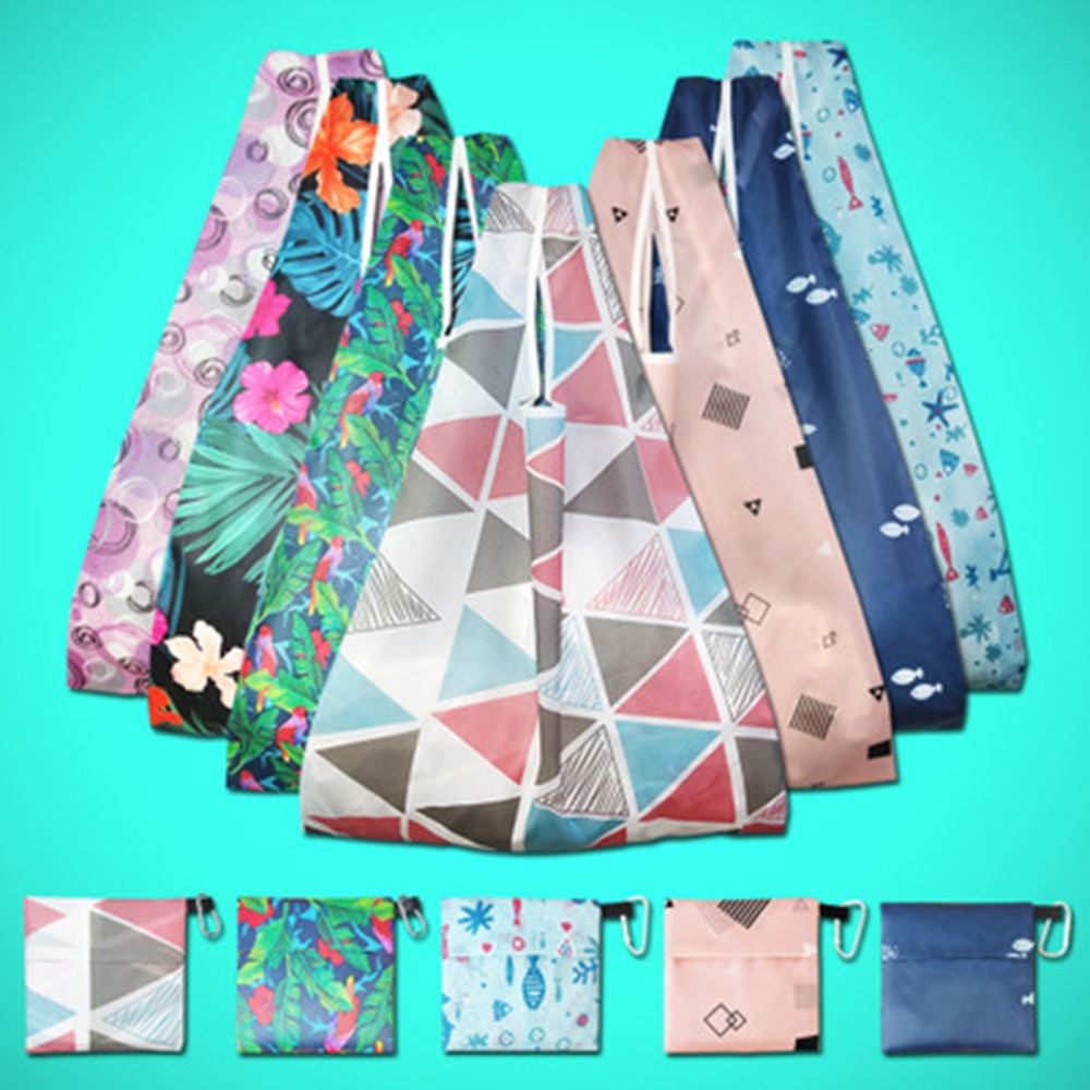 Women Up With Large Floral Eco Print Friendly Folding Capacity Bags Shopping Reusable Bag