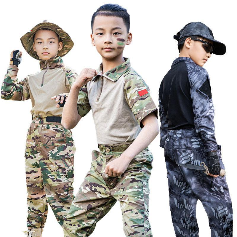 Kids Boys 2021 US Army Tactical Military Uniform Airsoft Camouflage Combat-Proven Shirts Pants Rapid Assault Long Sleeve Battle