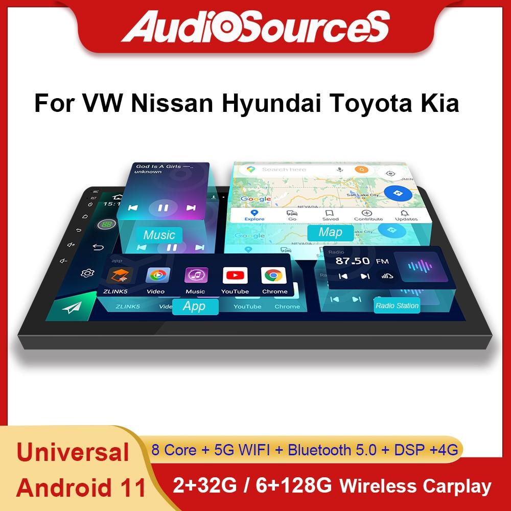 Универсальный Автомобильный мультимедийный видеоплеер для VW polo, KIA, Ford focus, Android 11, 6 + 128 ГГц