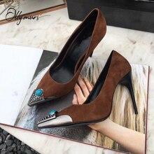 OllyMurs nouveau Style été en cuir verni pompes femmes chaussures bout pointu sans lacet mince talon haut dames pompes chaussures de fête femme