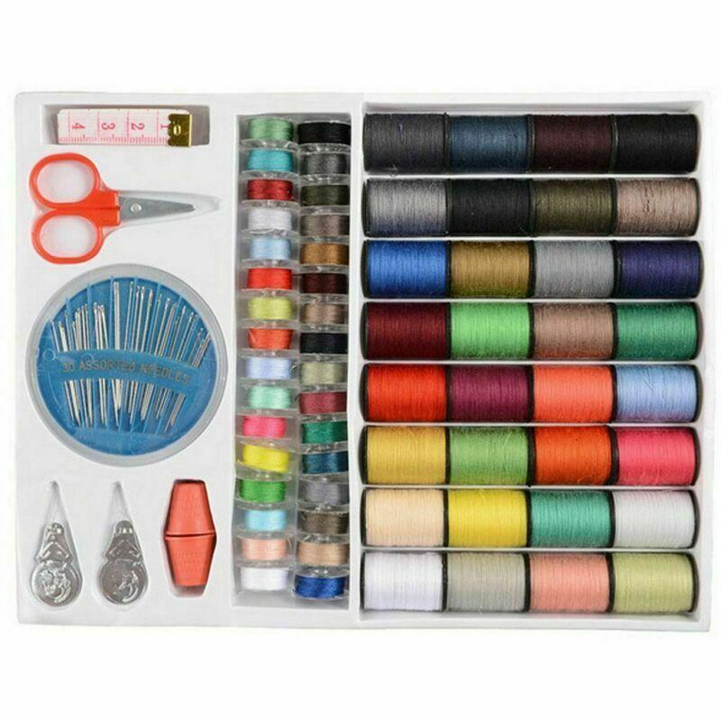 Juego de carrete de hilo de línea de máquina de coser de 64 rollos, Kit de cinta de aguja de carrete de algodón de bobina para el hogar DIY telas y costura de ropa TB venta