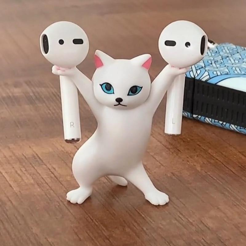 Animal Figure Dancing Cat Earphone Stand For AirPods Headset Bluetoot INS Penholder Desktop Display Cute home Decoration