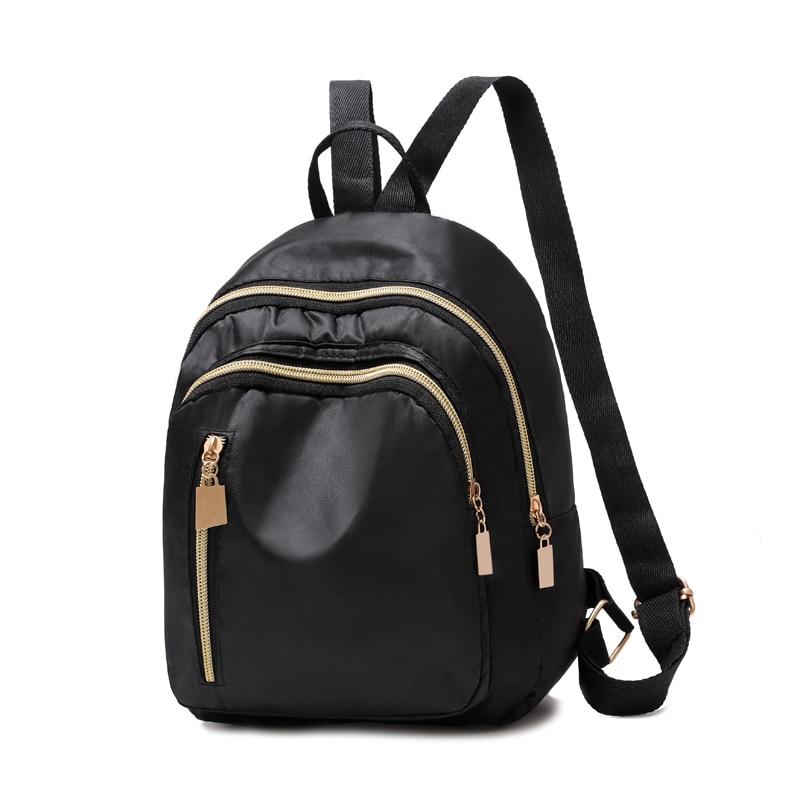 Women Simple Three Zipper Solid Black Nylon Waterproof Backpack Student Kids Small Lightweight Durab