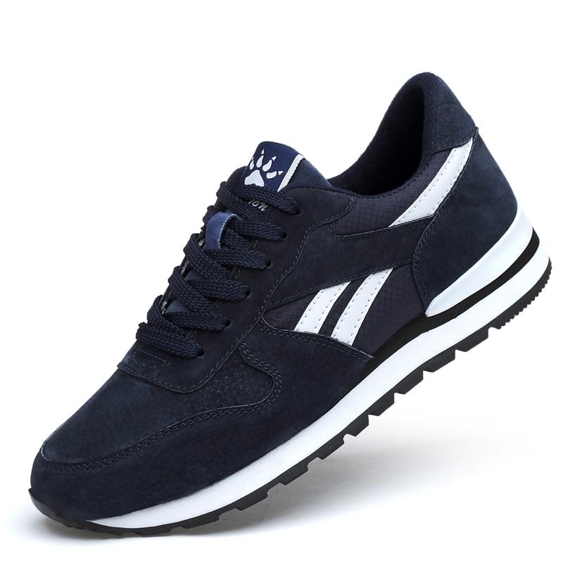 احذية الجري تنفس للرجال الرياضة في الهواء الطلق احذية الجري أحذية رياضية من الجلد حقيقية خفيفة عادية المضادة للانزلاق أحذية مشي