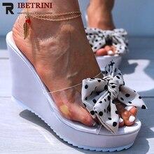 RIBETRINI Summer Big Size Polka Dot butterfly-knot Sandals Hot Trendy Platform PVC Sadals Women Summer High Wedges Shoes Woman