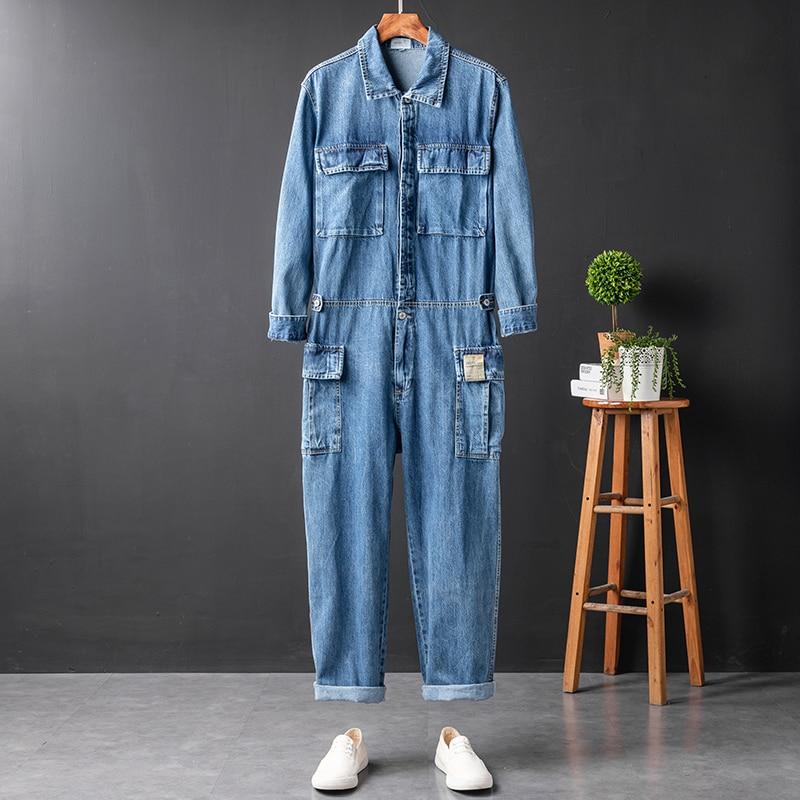 2021 new men's casual retro tooling denim jumpsuit Korean version men's street fashion denim jumpsuit