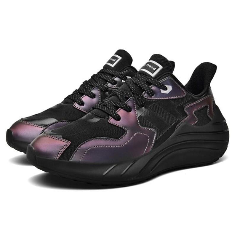 Мужские кроссовки на массивной подошве, черные дышащие сетчатые кроссовки для бега, спортивная обувь для ходьбы, Новинка лета 2021