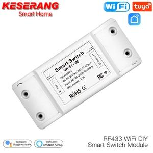 RF433 Remote Control WiFi DIY Smart Switch Module for Smart Automation,2200W/10A 90-250V Tuya Work with Alexa/Google Home