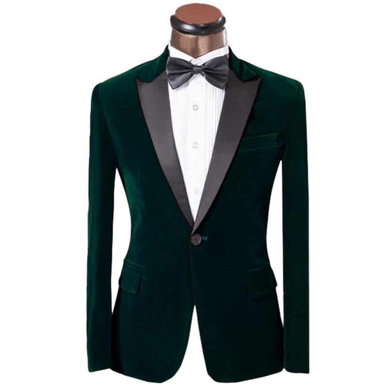 Handsome Velveteen Groomsmen Peak Lapel Groom Tuxedos  Men Suits Wedding/Prom/Dinner Best Blazer(Jacket+Pants+Tie) 075