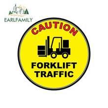 EARLFAMILY 13cm x 13cm for Caution Forklift Traffic Yellow Anti-Slip Floor Car Stickers Vinyl JDM Waterproof RV VAN Graphics