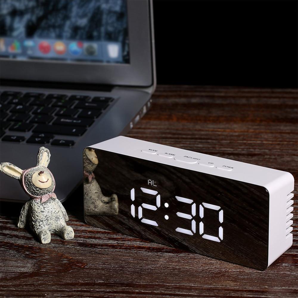 Miroir réveil LED affichage numérique horloge commande vocale Snooze temps température réveil Mode nuit