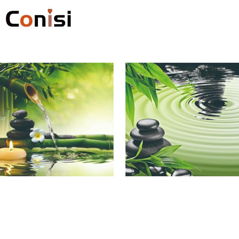 Conisi 2 панели настенная живопись печать зеленый бамбук вода Zen искусство на холсте домашний декор мраморная картина для украшения спальни
