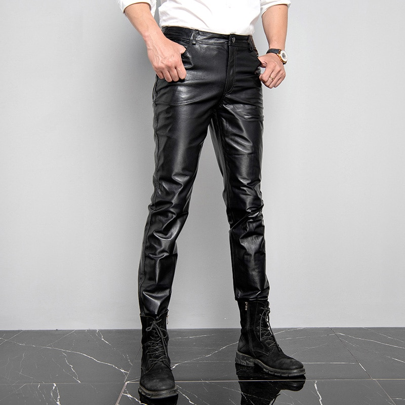 Men's Genuine Leather Pants Young Middle-aged Outdoor Windproof  Warm Business Casual Pigskin Leather Pants Autumn Winter