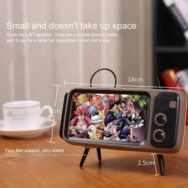 Mini portátil Retro BT Bluetooth altavoz música TV diseño teléfono móvil soporte altavoz estéreo al aire libre
