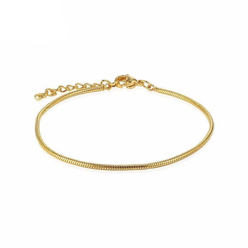 RIR Stainless Steel Golden Trend Snake Chain Bracelet Minimalist Chain Style Ladies Bracelet Daily J