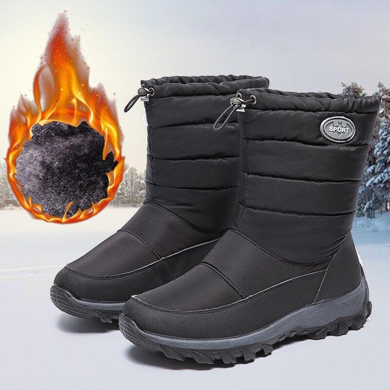 Botas de Neve para a Moda Feminina à Prova Sapatos de Inverno com Zíper Dwaterproof Água Plataforma Botas Mulher Guarda-chuva Pano Senhoras Sapatos Mujer