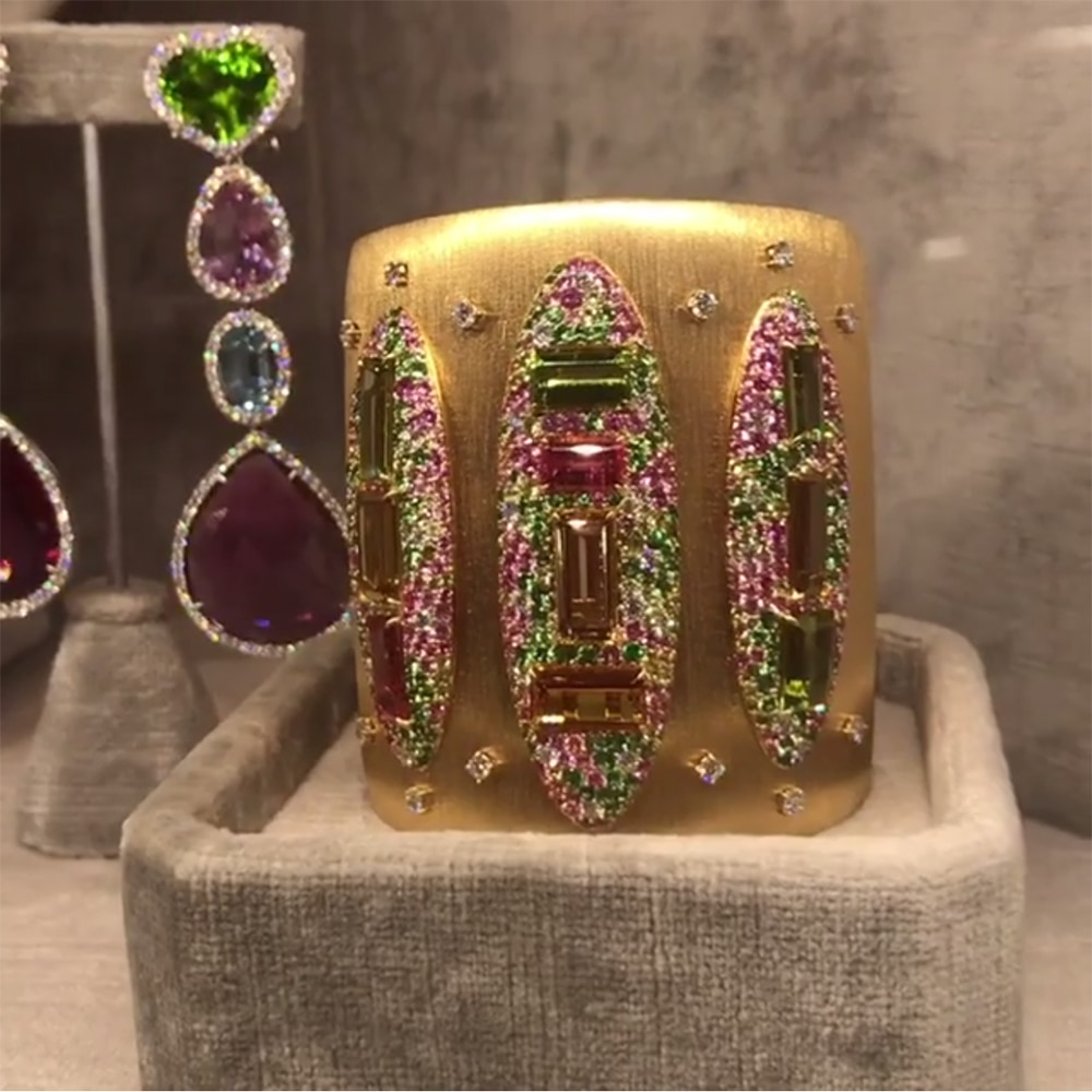GODKI, moda grande, brazalete de lujo llamativo para mujer, fiesta de boda, cristal de Zirconia cúbica, pulsera de Color dorado CZ Dubai 2020