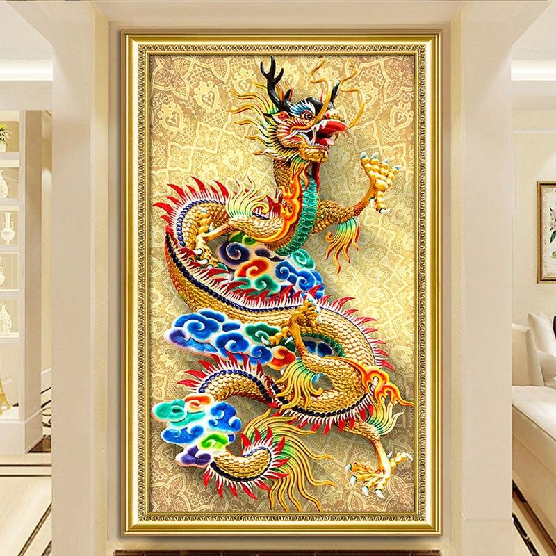 5D bricolage plein rond diamant peinture Dragon point de croix diamant broderie mosaïque décoration de la maison diamant peintures