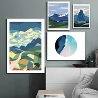 nordic canvas painting multicolored abstract alpine wall art mountain posters and prints decor picture modern home decoration