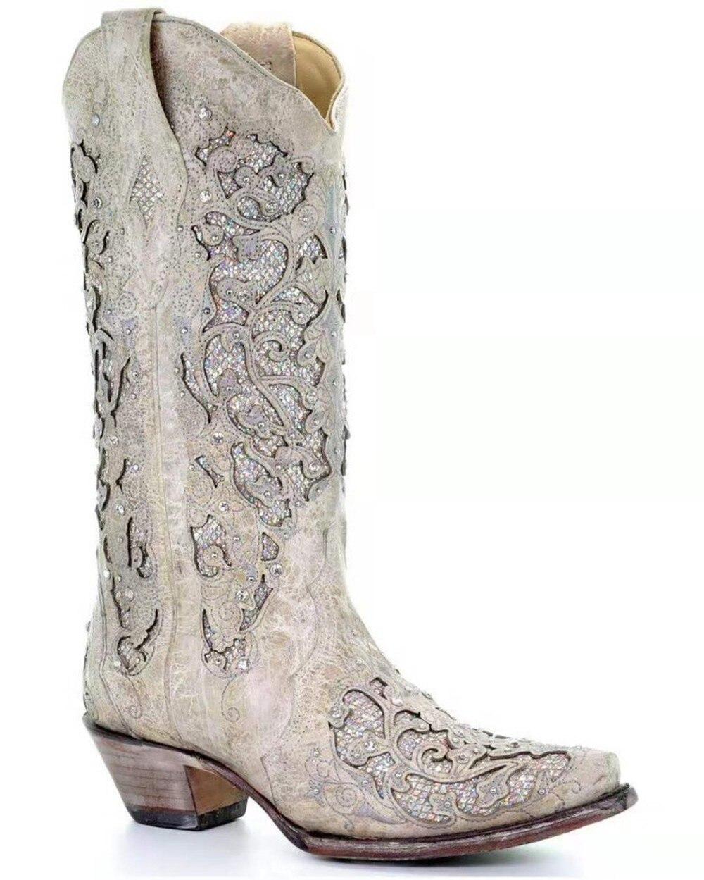 أحذية تشيلسي ذات كعب سميك وأحجار الراين ، أحذية نسائية بمقدمة مربعة ، أحذية رعاة البقر الغربية المنحوتة في الركبة ، مقاس كبير 34-43