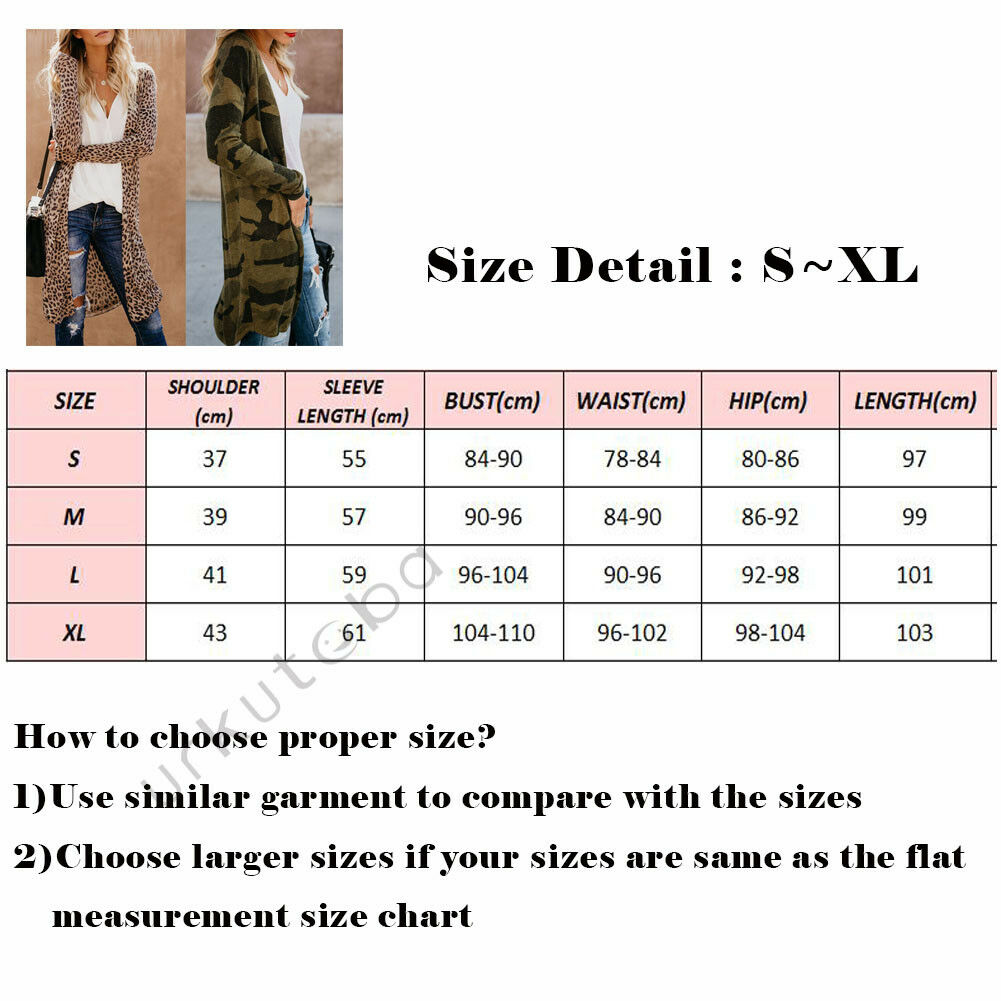 2020 Newest Hot Fashion Spring Autumn Women Lady's Loose Long Sleeve Cardigan Leopard Kimono Shawl Tops Blouse Coat Jacket