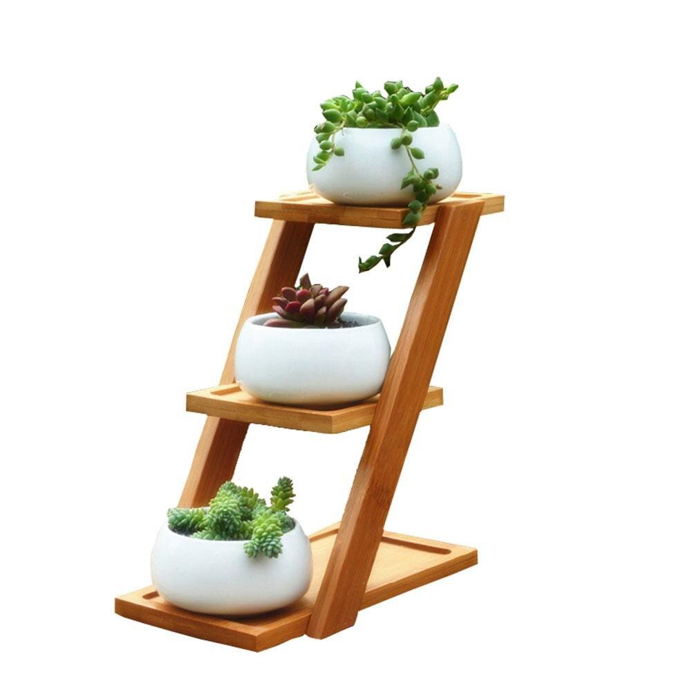 Simples criativo branco suculenta planta vaso de flores titular cerâmica decorativa oblate vaso de flores & três-camada de bambu prateleira pote conjunto