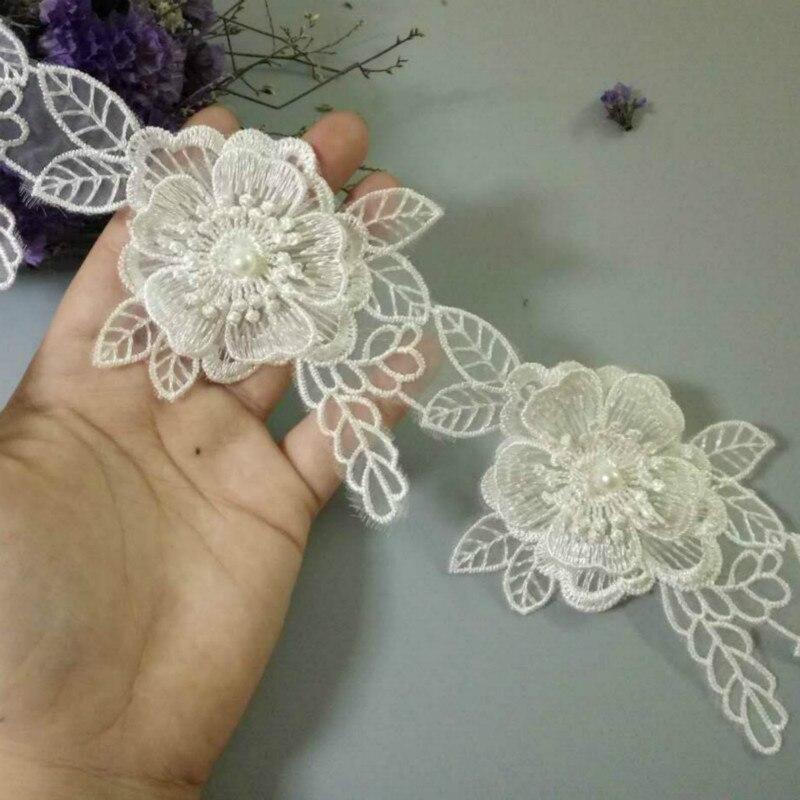 2 Yard Elfenbein Baumwolle Perle Blumen Blatt Bestickte Spitze Trim Band Stoff Sewing Supplies Handwerk Für Bekleidungs Dekoration 12cm