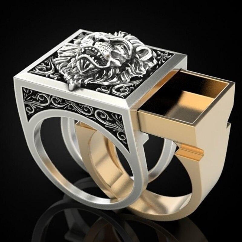 Men's Combination Rings Secret Kingdom Lion King Gift Ring Hip Hop Jewelry Punk Viking Rings недорого
